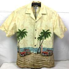 Ho Aloha Mens Hawaiian Shirt Camp Vacation Short Sleeve Woody Surfboard Medium
