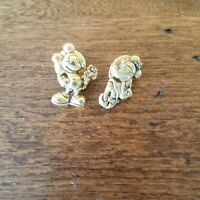Disney 2 Pin Set Mickey and Minnie Mouse  Brass Lapel For Vest or Denim Jacket