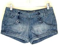 American Eagle Jean Shorts Size 2 Blue Denim Button Front Both Sides Waist 30