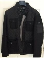 ARMANI JEANS Black Jacket Size XL 48 Six Logo Buttons Quilted Lining Pockets