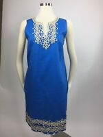 Mud Pie Sky Blue Gold Shimmer Crochet Trim Shift Dress Split Neck Large Nice!