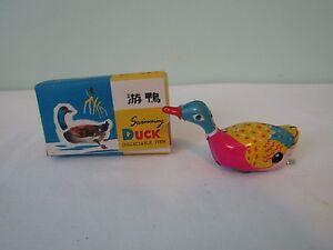 Vintage Swimming Duck Wind-Up Tin Toy w/Original Box & Key