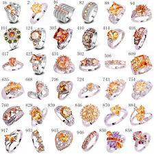 Gorgeous Morganite & White Topaz Gemstone Silver Ring US Sz 6 7 8 9 10 11 12 13