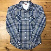 Vintage Levi's Western Cowboy Shirt Men's Small Slim Fit Blue White Pearl Snap