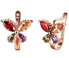 14K Rose Gold Plated Butterfly Huggies Earrings made with Swarovski Crystals
