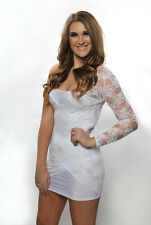 White Lace Floral One Sleeve Mini Dress Cocktail Festive Bridal Holiday 2468