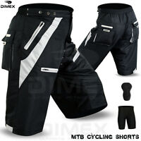 MTB Cycling Short Off Road Cycle CoolMax Padded Liner Shorts Black/Grey M to 2XL