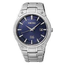 Seiko Men's Silvertone Blue Dial Solar Dress Watch SNE323