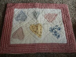 Pottery Barn Quilted HEARTS Pillow Case/SHAM {Fabric}