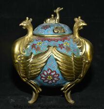 """8.4"""" Old China Cloisonne Bronze Gilt Dynasty Deer Lid Phoenix Incense Burner"""