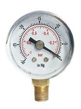 Vacuum Gauge -30*Hg & -1/0 Bar 40mm Dial 1/8 BSPT Bottom connection.