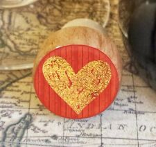 Wine Stopper, Gold Handrawn Heart Handmade Wood Bottle Stopper, Valentine's Day