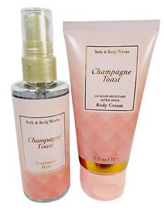 Bath & Body Works CHAMPAGNE TOAST Fragrance Mist Body Cream Travel Set 2.5oz New