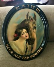 Spectacular Pre-Pro Kaier Beer - Brewing Tray W/ Girl & Horse Mahanoy City Pa