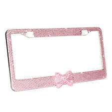 Pink Diamond Bow Tie Crystal Sparkling Rhinestone License Plate Frame For US&CA