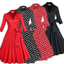 AU Rockabilly Vintage V Neck Bow Swing Work Evening 40s 50s Retro Pin Up Dress