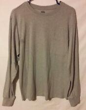 Men's Open Trails Medium M Solid Gray Shirt Long Sleeves Pocket Crewneck NWT