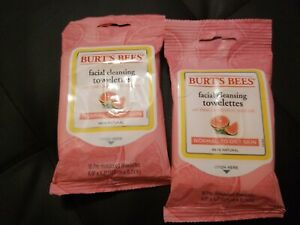 (2) Burts Bees Pink Grapefruit Cleansing Towelettes TRAVEL SIZE