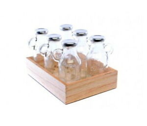 Set Of 6 Glass Milk Bottles With Silver Lid & Handle Vintage Storage Wooden Tray