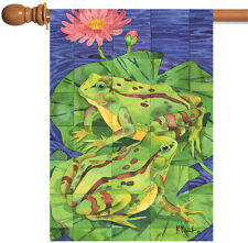 NEW Toland - Two Toad Tiles - Colorful Green Lily Pad Pond Flower House Flag