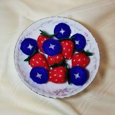 Felt pretend play food STRAWBERRY BLUEBERRY SET - embroidery - handmade