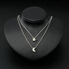 New Fashion Women's Double Chain Moon Star Charm Necklace Pendant Gift DE