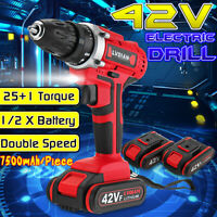 Cordless 42V Rechargeable Electric Impact Driver Drill Screwdriver w/ 2 Battery