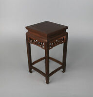 display China brown hard wood carved Ji-chi wooden square base stand 11.6inch