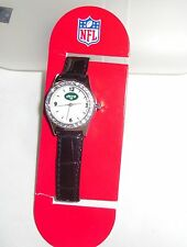 NFL LADIES NEW YORK JETS WATCH WITH GENUINE LEATHER BLACK BAND