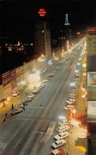 SALT LAKE CITY Main Street Night Scene Neon Signs Utah c1960s Vintage Postcard