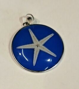 Hand Crafted Resin Encased Real Starfish Pendant In Sterling Silver Frame (348)