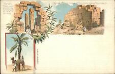 Karnak Egypt Multi View Litho Pylone Statue c1900 Clean Stamp & Cancel Postcard
