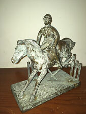 VINTAGE BRONZE STEEPLE CHASE SCULPTURE HORSE & RIDER JUMPING - REMOVABLE RIDER