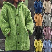 Women Winter Warm Hooded Knit Sweater Cardigan Coat Long Sleeve Outerwear Jacket