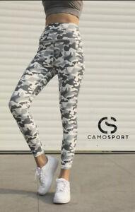 Camo Sport - Women's Stretchy High Waist Yoga Leggings 7/8 Length with Pockets