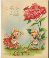VINTAGE GARDEN PINK FLOWER CROQUET SPARROWS FOLK CUTE BLONDE GIRLS GREETING CARD