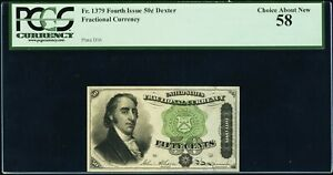 FR 1379 - 50 CENTS 4th ISSUE DEXTER - GREEN SEAL, pp D16 - PCGS 58 Choice AU