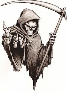 Vinyl sticker/decal Large 180mm grim reaper - facing right