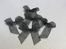 30 Lot  black organza sheer ribbon bow for wedding, crafts, scrapbook