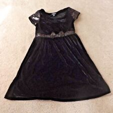 Cute GEORGE Girls Size 10-12 Back Velvet Dress w Embellishments Sleeves & Waist