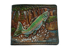 Men's 3D Genuine Leather Wallet, Hand-Carved, Airbrush Art, Angling, Fish wallet