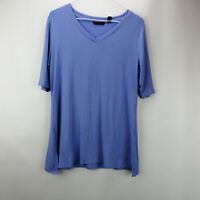 H by Halston Elbow-Sleeve V-Neck Tunic w/ Wide Side Slits Blue Iris S A353391