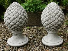 PAIR Stone Pineapple Finial Gate Post Top Garden Ornament Statue Victorian