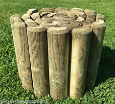 "2.4m Log Border Roll Fencing - 9"" Log Roll Edge - Wooden Garden Lawn Edging"