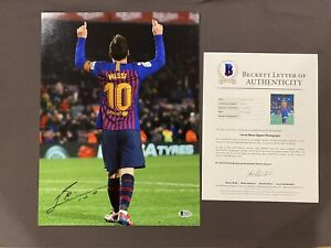BECKETT LOA LIONEL MESSI Signed Autographed 12x16 Photo FC BARCELONA Soccer RARE