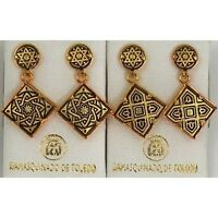 Damascene Gold Star of David Design Drop Earrings by Midas of Toledo Spain 3144