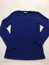 Herbalife Brand M Medium Blue Bling Logo Long Sleeve Shirt Fitted Runs Small