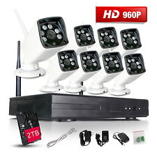 Wireless CCTV 8 Channel DVR Outdoor Home Video Security Camera System 2TB HDD