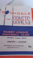 22.3.72 Rochdale Hornets v Oldham programme