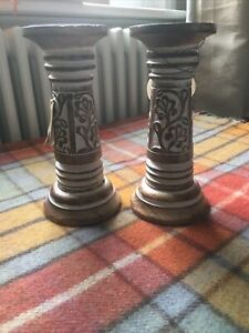 Wooden Carved Candlestick Pair